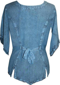 Scooped Neck Medieval  Embroidered Blouse - Agan Traders, Navy Blue