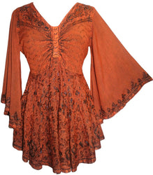 ec3b8ab252466e Medieval Butterfly Bell Sleeve Flare Blouse - Agan Traders, Rusty Orange