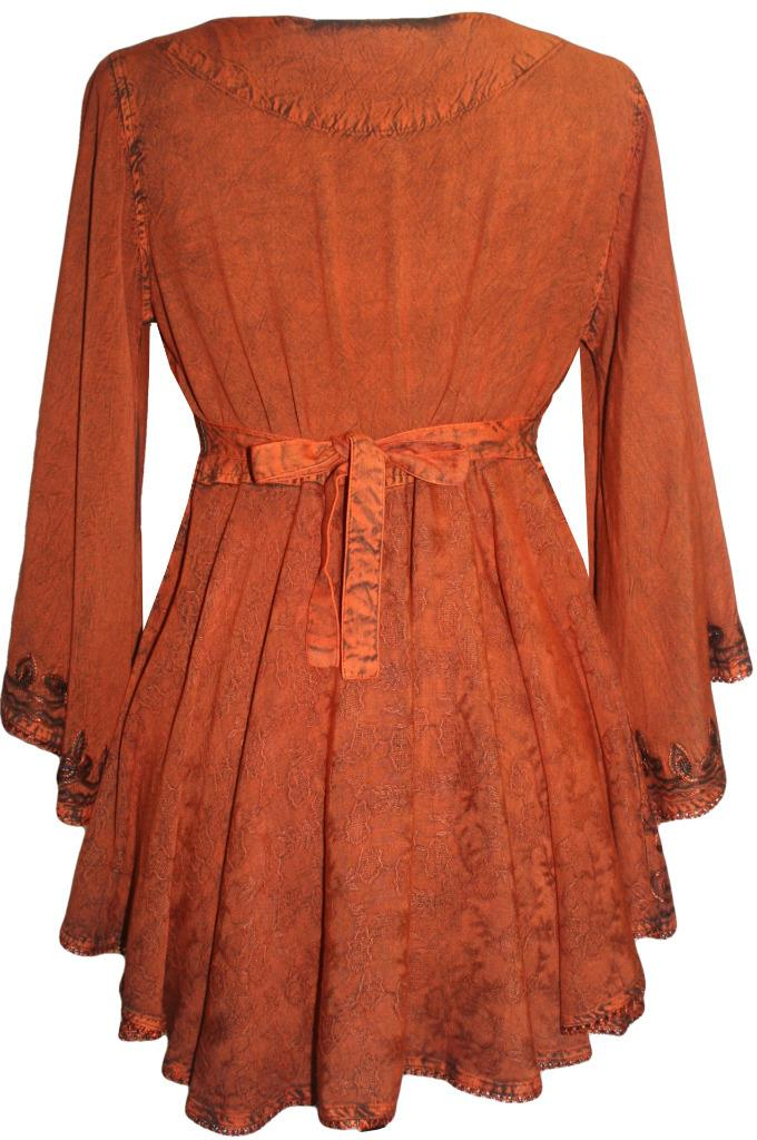 Medieval Butterfly Bell Sleeve Flare Blouse - Agan Traders, Rusty Orange