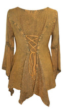 303 NB Bohemian Asymmetrical Blouse Tunic - Agan Traders, Old Gold