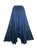 186028 SKT Boho Medieval Crepe Tier Elastic Waistband Front Open Long Skirt Maxi - Agan Traders, Blue