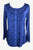 Women's Boho Medieval Embroidered Button-Down Full Sleeve Shirt Blouse - Agan Traders, Blue