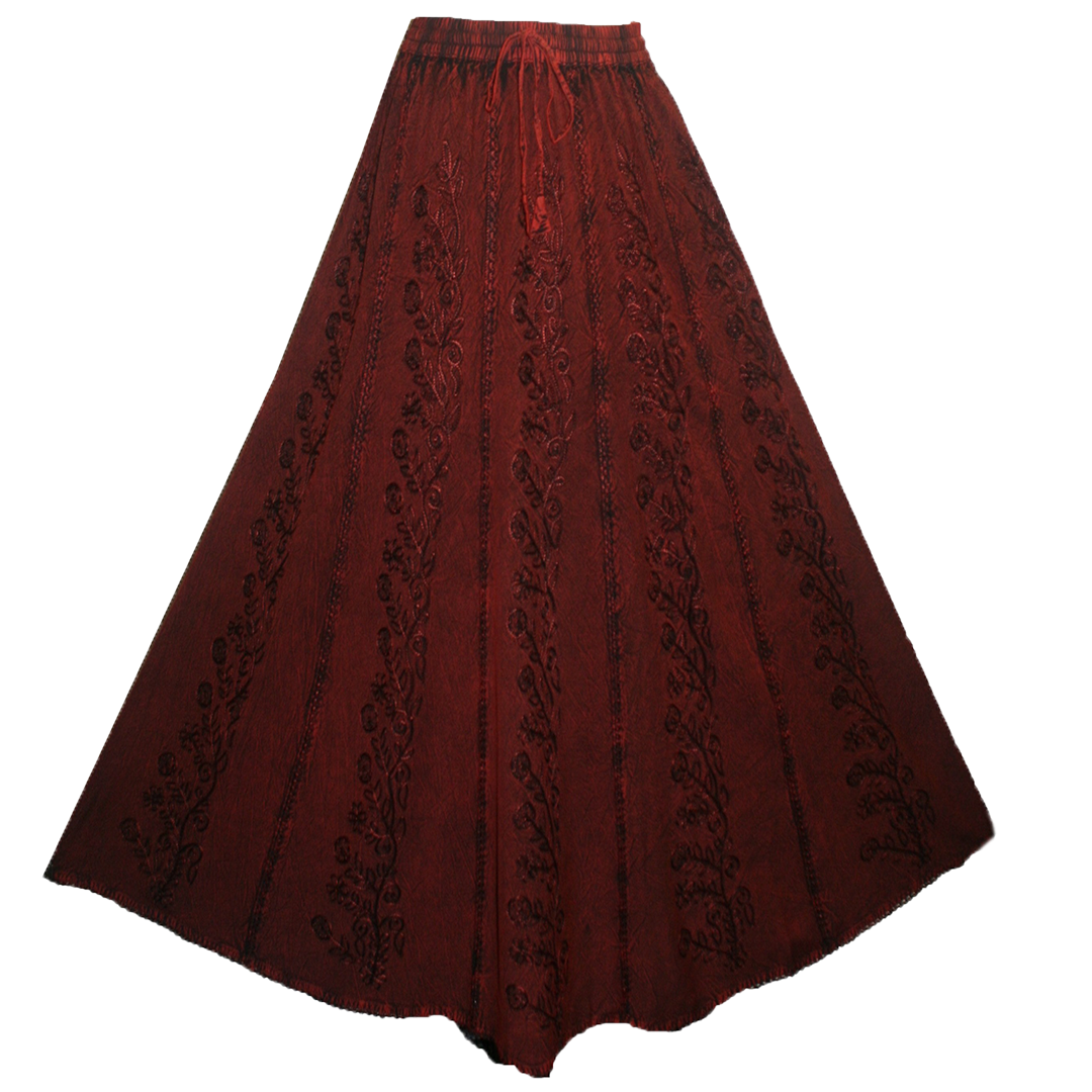 712 SK Agan Traders Medieval Embroidered Long Skirt - Agan Traders, Burgundy