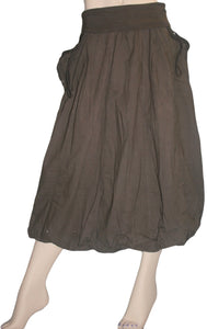 60 Skt Cotton Tie Dye or Solid Balloon Front Pocket Bubble Skirt - Agan Traders, Choco