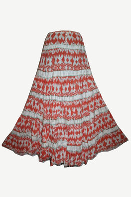 Tiered Long Funky Beach summer Gypsy Cotton skirt - Agan Traders, Orange/White