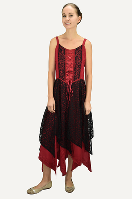 Asymmetrical Hem Net Renaissance Gothic Spaghetti Strap Summer Dress - Agan Traders, Black Red