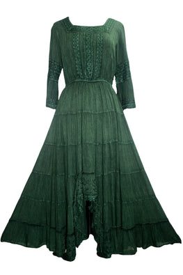186022 DR Vintage Medieval Crepe High-Low Tier Lace Square Neckline Dress Gown - Agan Traders, E Green