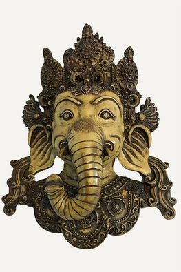 Resin Traditional Hindu Goddess Mask Wall Hangings Art Statue - Agan Traders, Beige