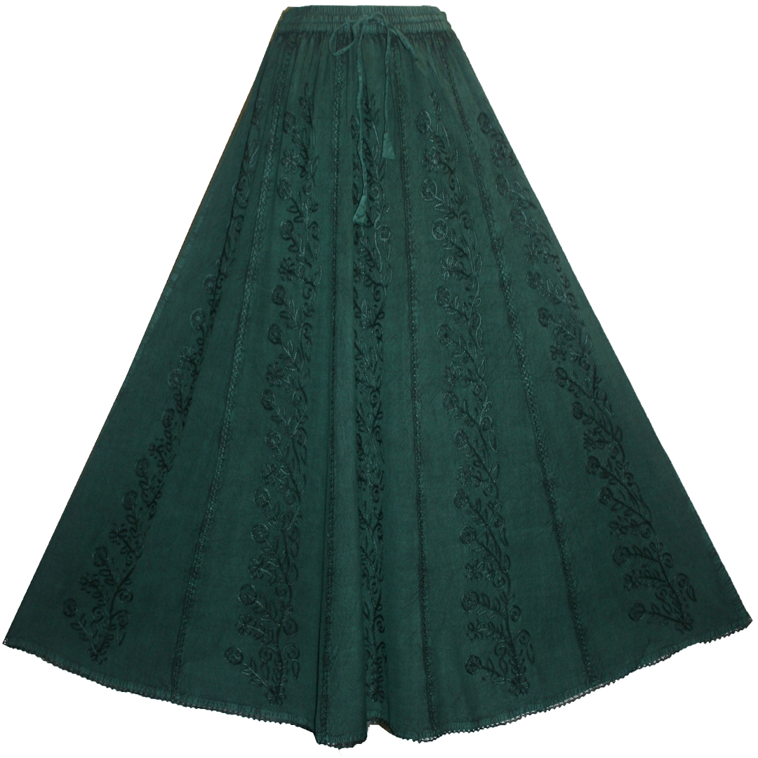 712 SK Agan Traders Medieval Embroidered Long Skirt - Agan Traders, H. Green