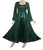 Rayon Satin Medieval Gothic Renaissance Corset Bell Sleeve Dress Gown - Agan Traders, Green