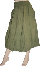 60 Skt Cotton Tie Dye or Solid Balloon Front Pocket Bubble Skirt - Agan Traders, Green