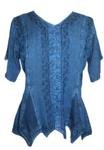Gypsy Medieval Netted Asymmetrical Vintage Top Blouse - Agan Traders, Blue