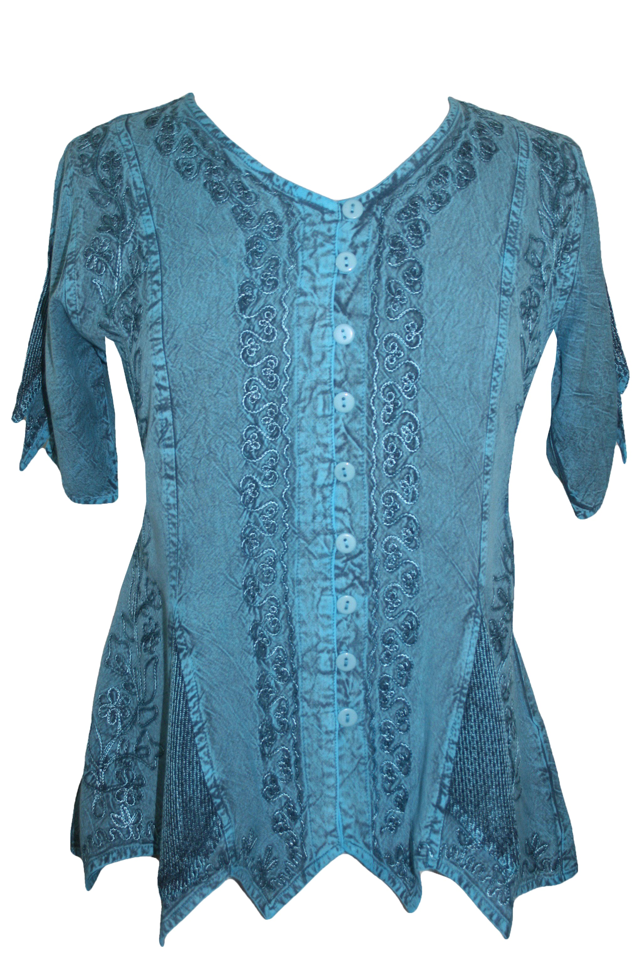 Gypsy Medieval Netted Assymetrical Vintage Top Blouse - Agan Traders, Turquoise
