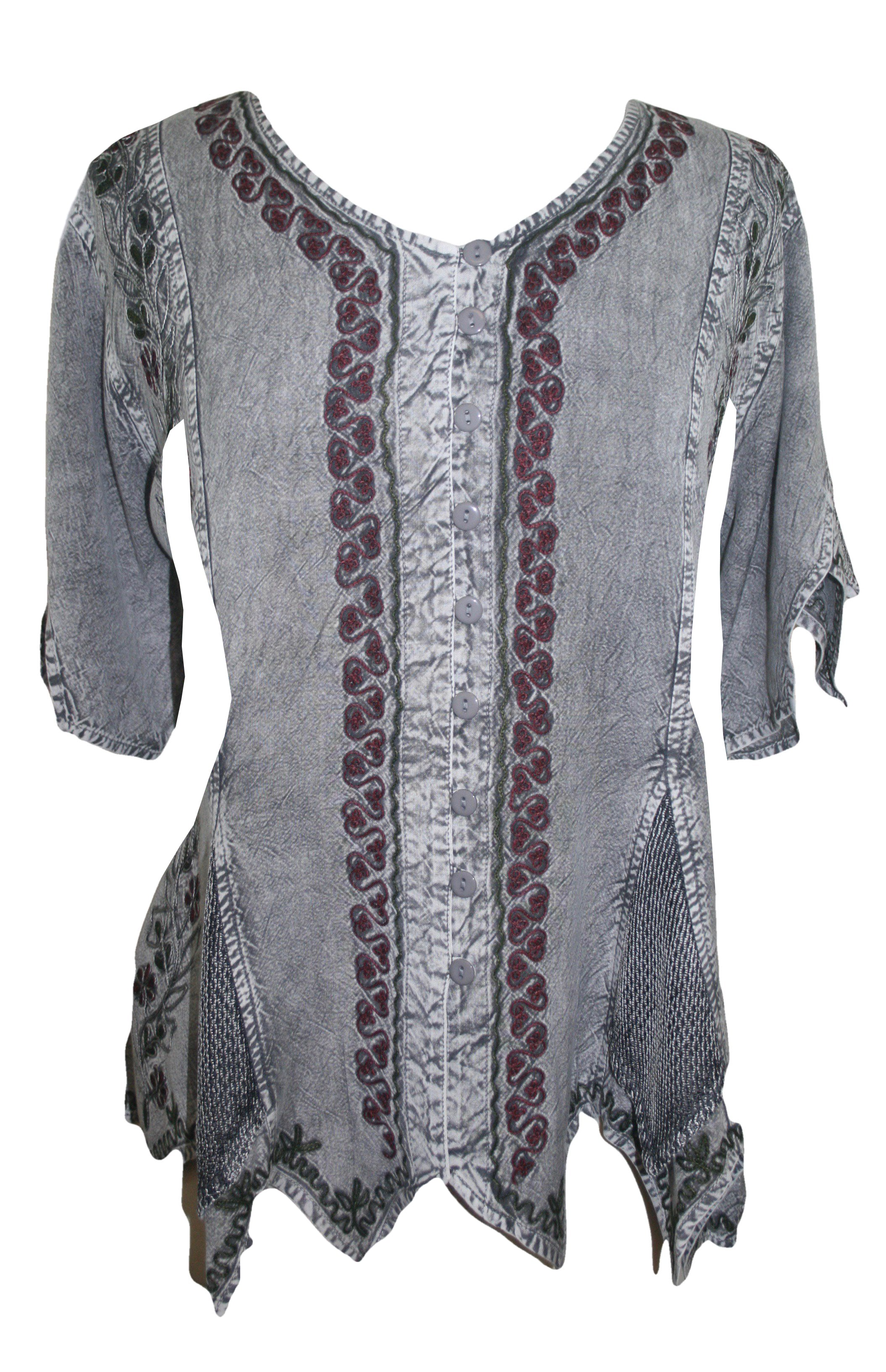 Gypsy Medieval Netted Assymetrical Vintage Top Blouse - Agan Traders, Silver C