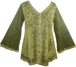 Medieval Victorian Gothic embroidered button down sheer lace sleeve blouse - Agan Traders, Lime Green