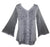 Medieval Victorian Gothic embroidered button down sheer lace sleeve blouse - Agan Traders, Silver