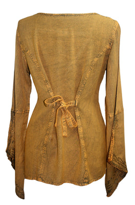 Renaissance Gypsy Bell Sleeve Blouse Top - Agan Traders, Old Gold