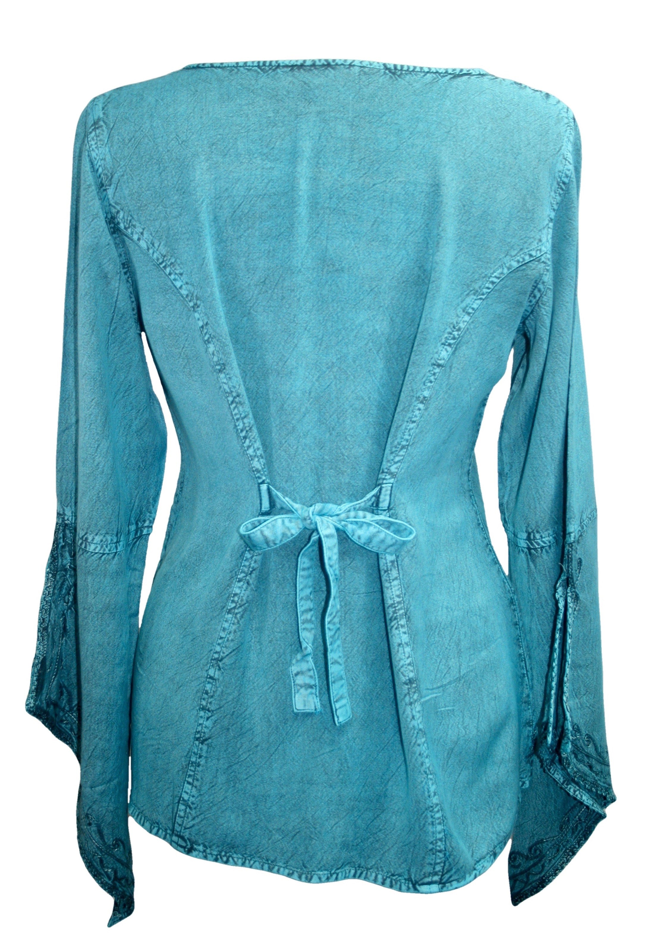 Renaissance Gypsy Bell Sleeve Blouse Top - Agan Traders, Turquoise