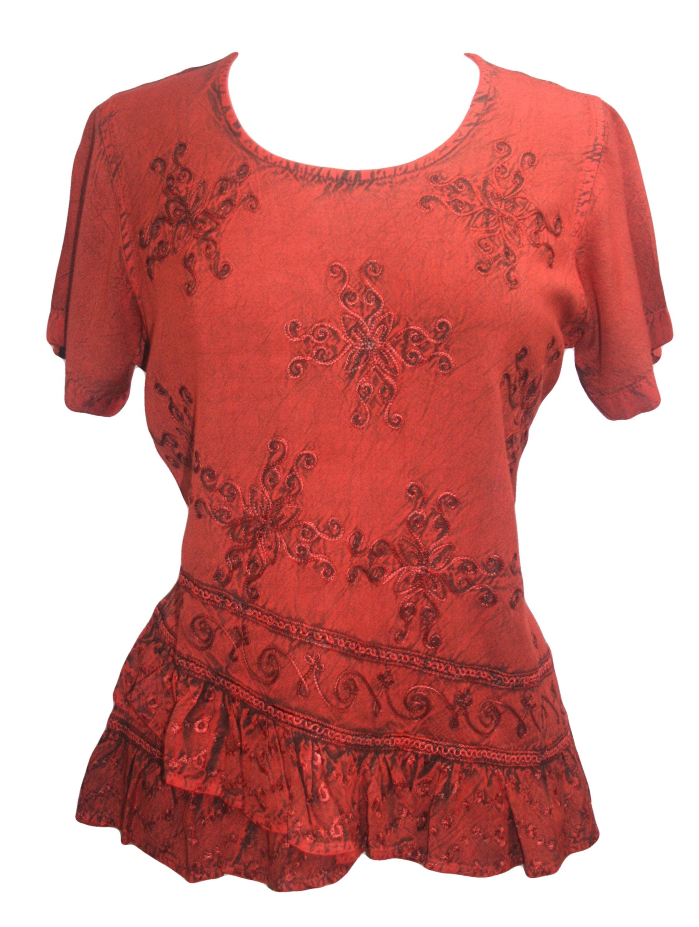 Medieval Renaissance Gypsy Ruffle Cross Blouse - Agan Traders, B Red