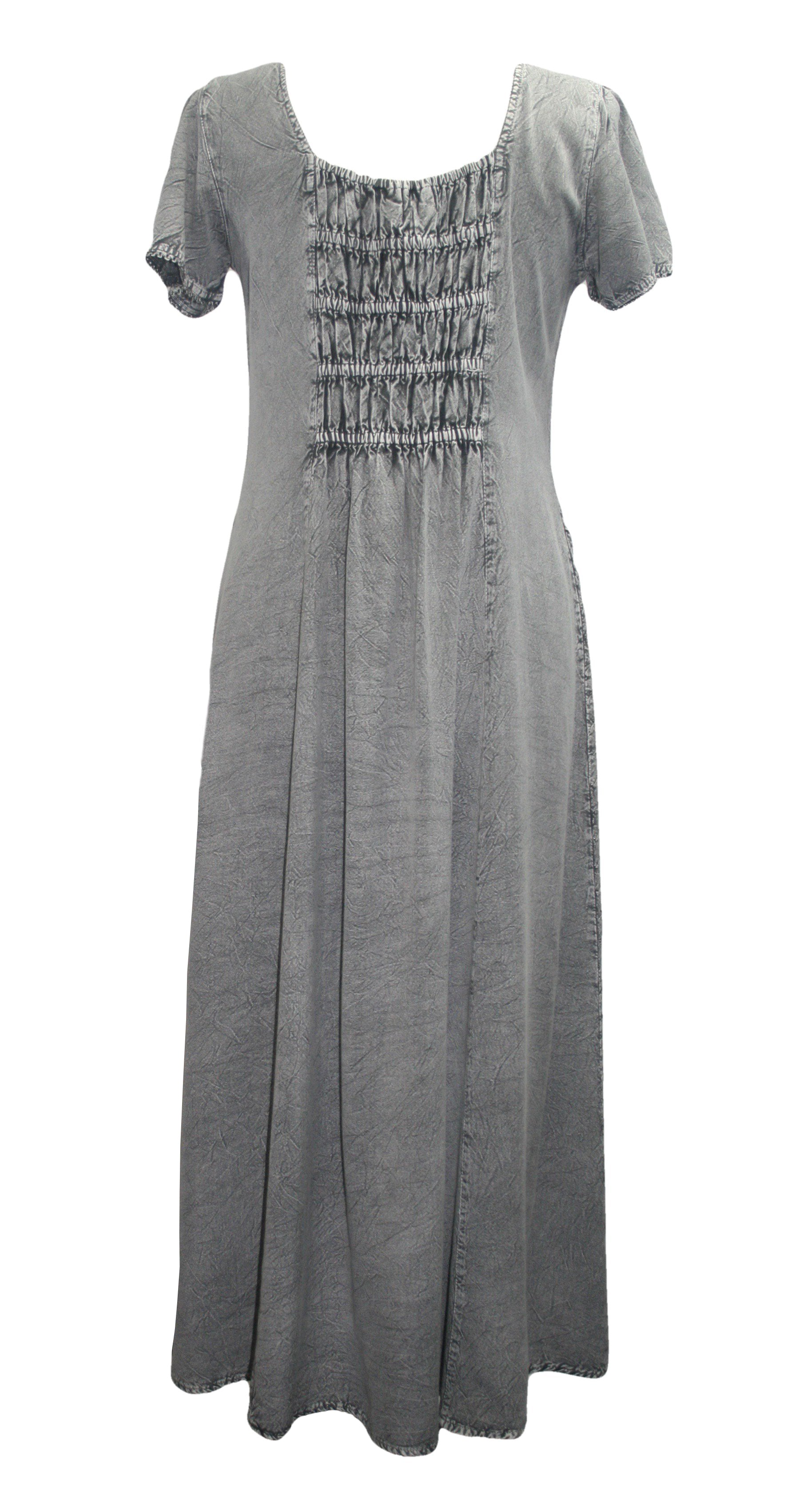 1024 DR Gothic Vintage Cap Sleeve Embroidered Casual Chic Dress Gown - Agan Traders, Silver