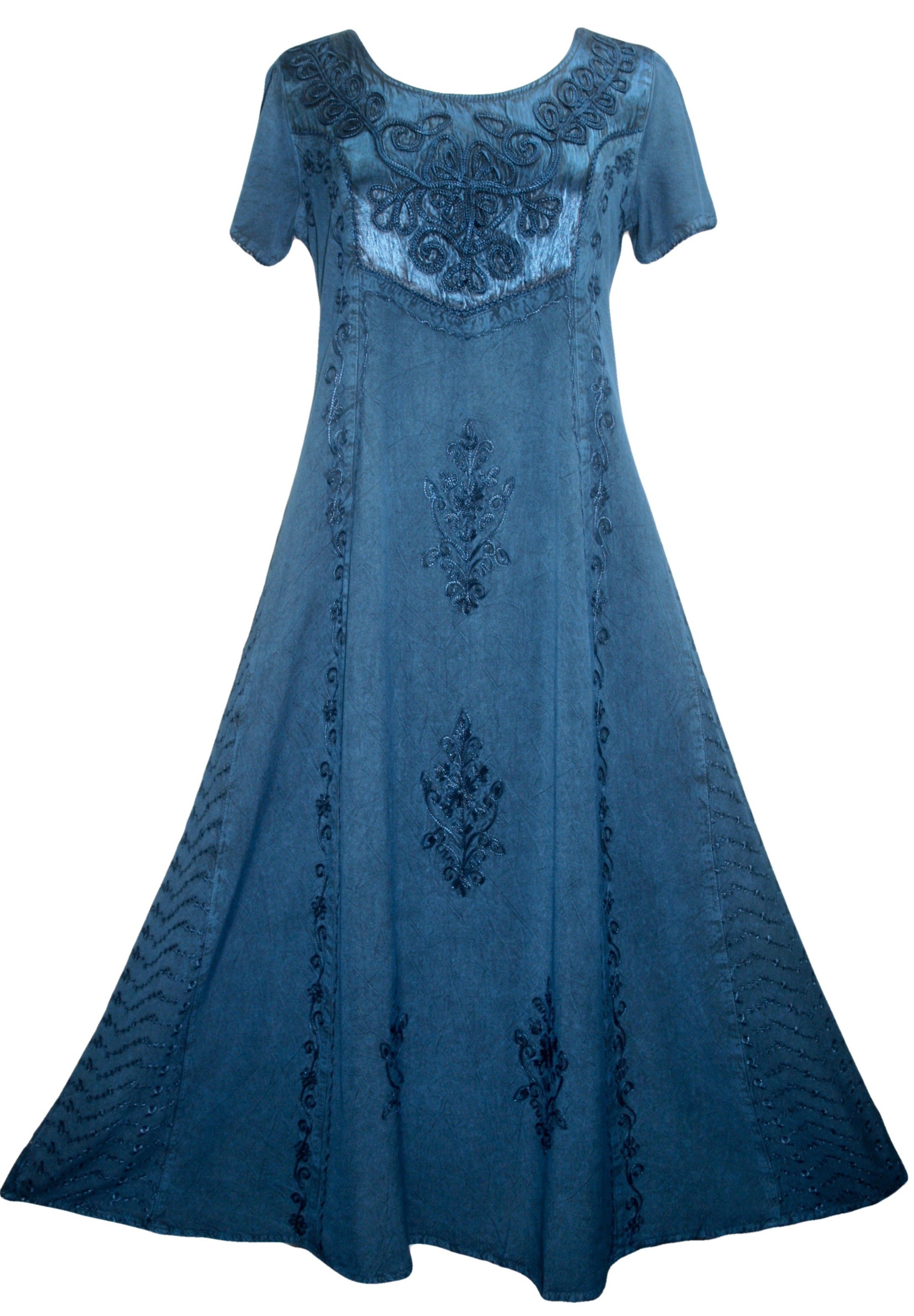 1024 DR Gothic Vintage Cap Sleeve Embroidered Casual Chic Dress Gown - Agan Traders, Blue
