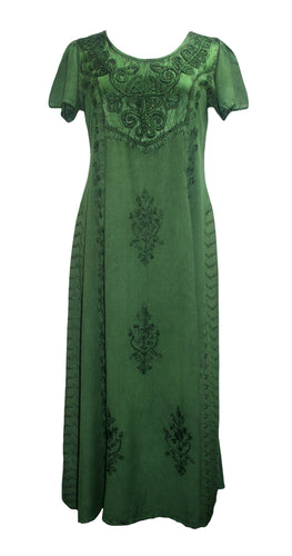 1024 DR Gothic Vintage Cap Sleeve Embroidered Casual Chic Dress Gown - Agan Traders, E Green