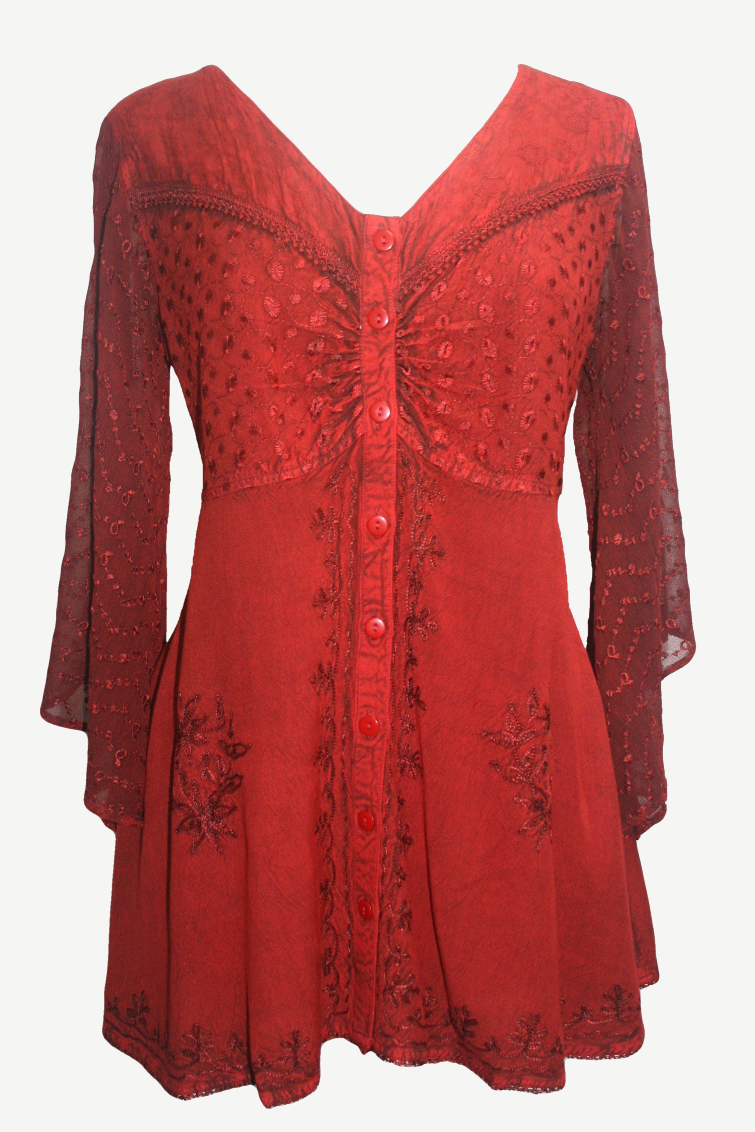 18607 B Medieval Gothic Embroidered Button Down Sheer Lace Sleeve Top Blouse - Agan Traders, B Red