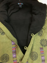 402 JKT Cotton Printed Fleece Lined Auspicious Symbols Tibetan Hoodie Jacket - Agan Traders, Army Green