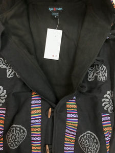 402 JKT Cotton Printed Fleece Lined Auspicious Symbols Tibetan Hoodie Jacket - Agan Traders, Black