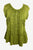 27713 B Medieval  Embroidered Button Down Light Weight Cap Sleeve Shirt Blouse - Agan Traders, Lime Green