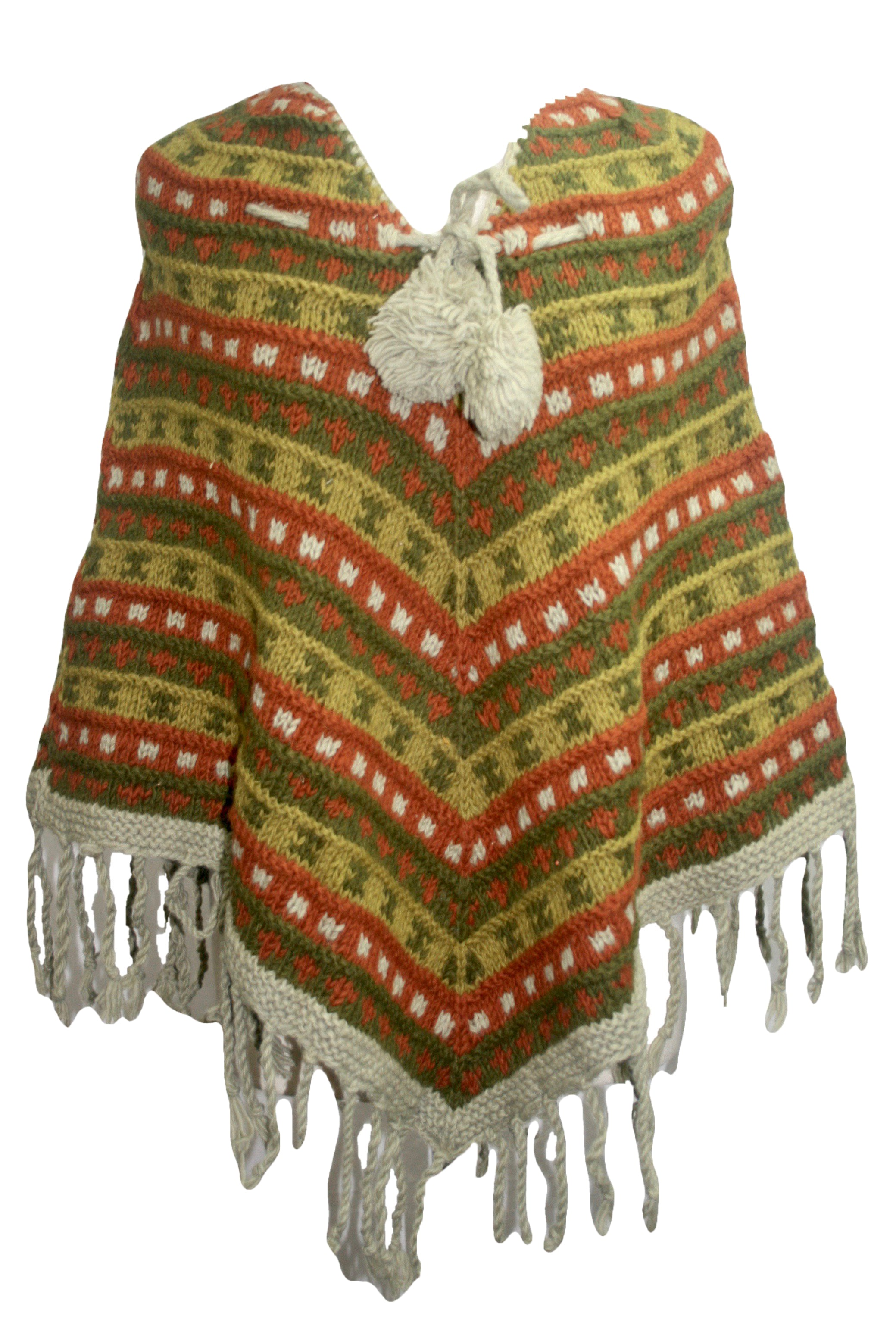 PN 200 Himalayan Thick Sheep Wool Hand Knitted Poncho - Agan Traders, PN 200 11