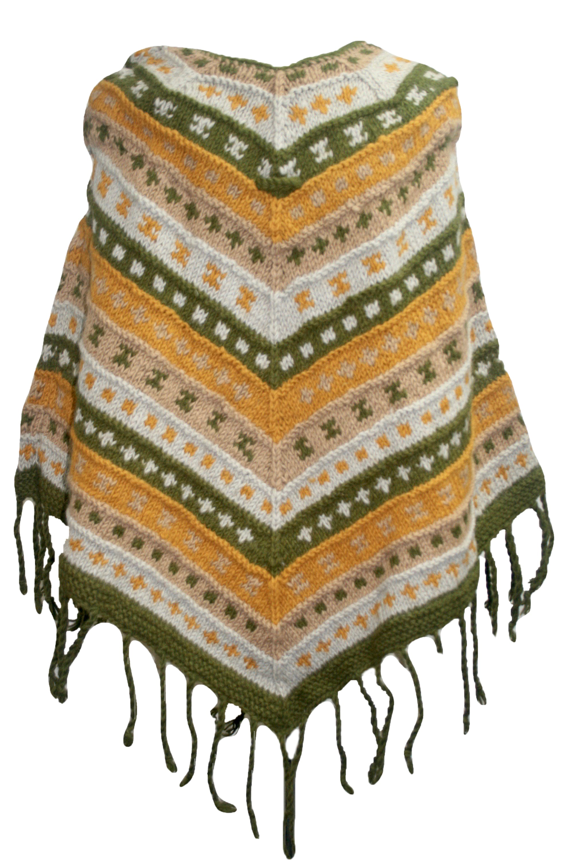 PN 200 Himalayan Thick Sheep Wool Hand Knitted Poncho - Agan Traders, PN 200 13