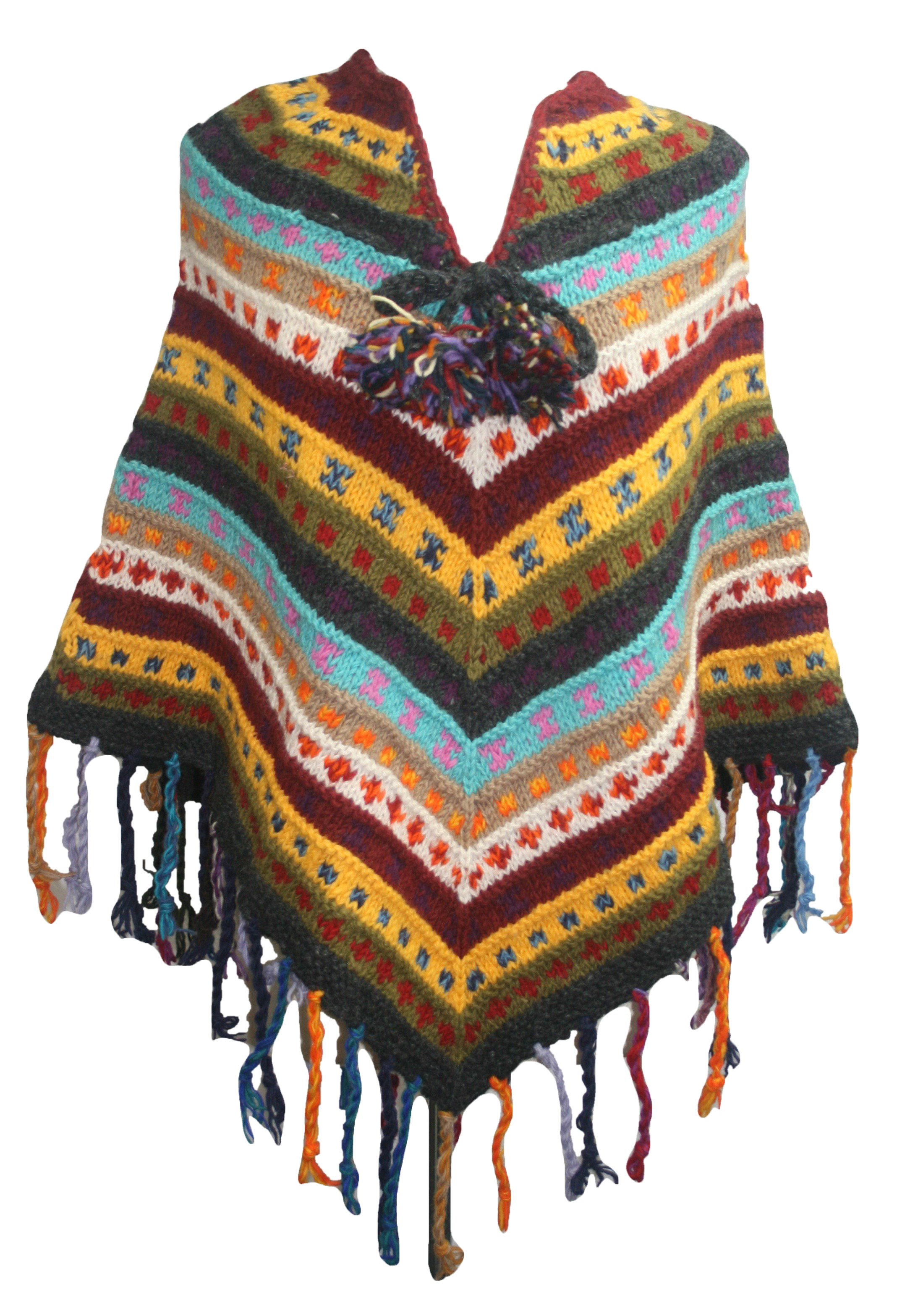 PN 200 Himalayan Thick Sheep Wool Hand Knitted Poncho - Agan Traders, PN 200 15