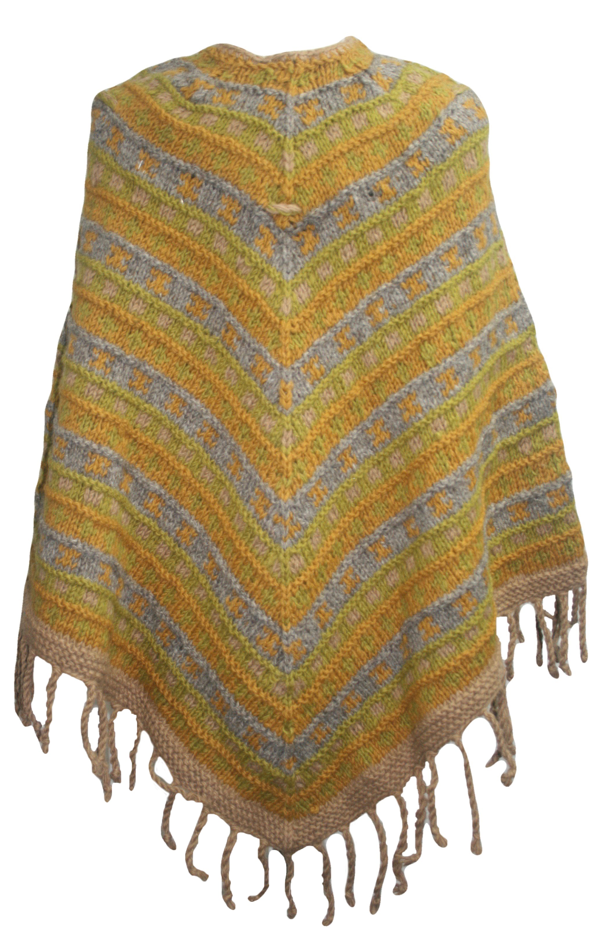 PN 200 Himalayan Thick Sheep Wool Hand Knitted Poncho - Agan Traders, PN 200 17