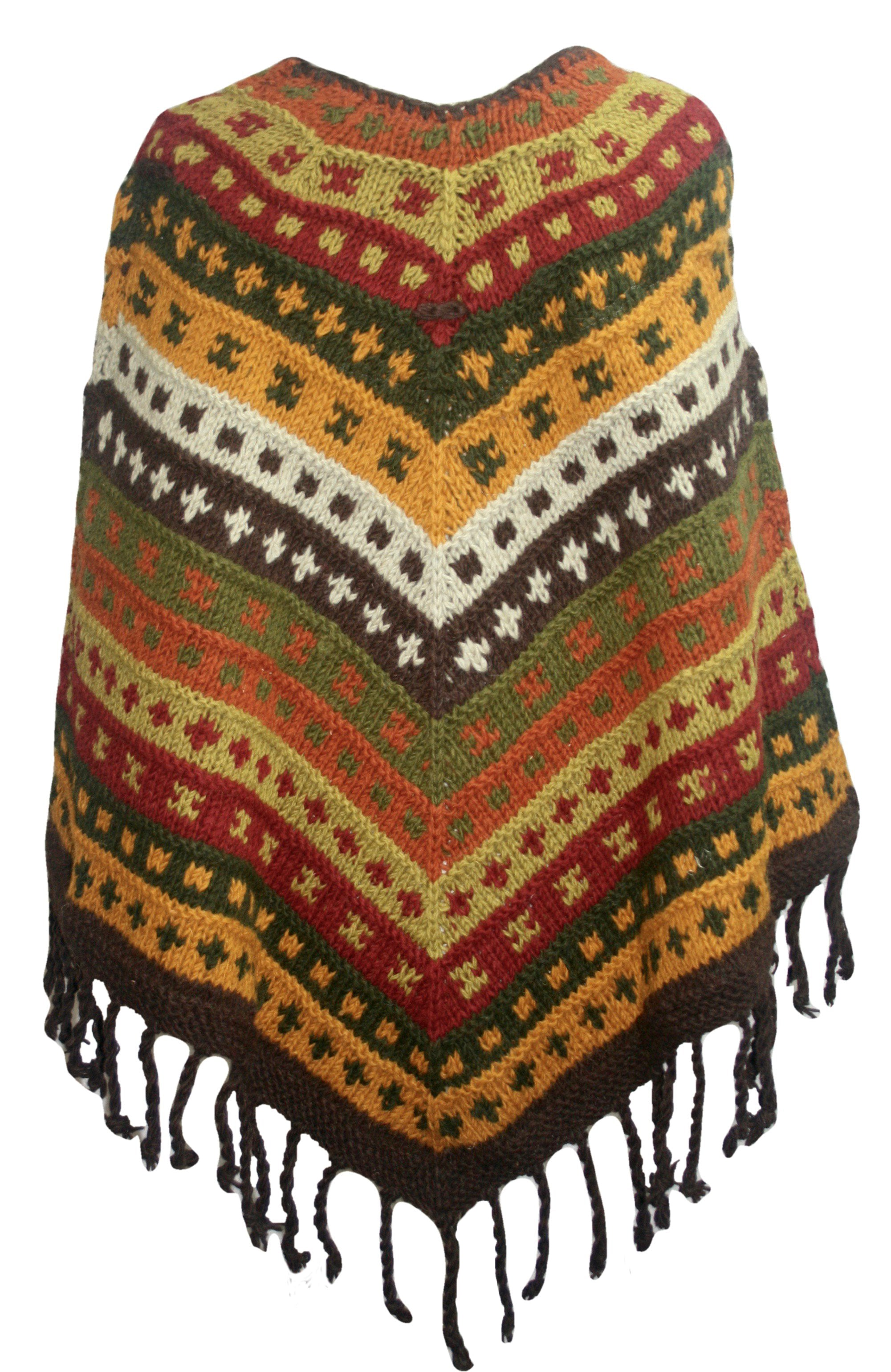 PN 200 Himalayan Thick Sheep Wool Hand Knitted Poncho - Agan Traders, PN 200 19