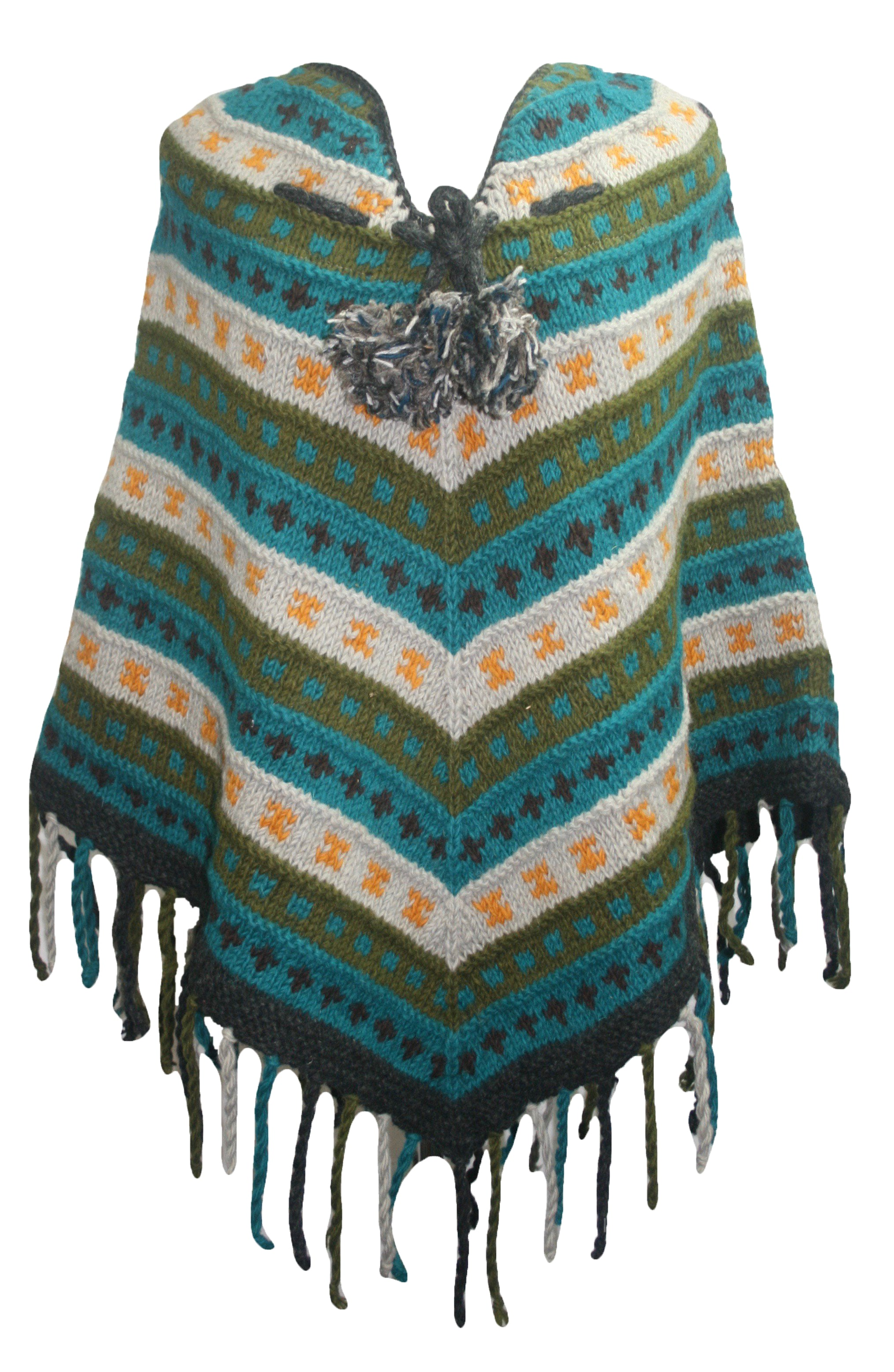 PN 200 Himalayan Thick Sheep Wool Hand Knitted Poncho - Agan Traders, PN 200 8