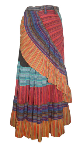 13 WS Women's Cotton Boho Chic Broom Circular Gypsy Patch Wrap Skirt Maxi - Agan Traders, multicolor