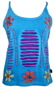 R 131 Agan Traders Rib Cotton Patch Razor Cut Embroidered Yoga Tank Top - Agan Traders, Turquoise