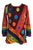 R 232 Denim Multi-colored Diagonal Patched Floral Embroidered Boho Blouse - Agan Traders, Red