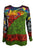 R 301 B Rib Cotton Multicolored Mushroom Patched Printed Razor Cut Vibrant Blouse Top