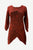 R 303 B Rib Knit Cotton Asymmetrical Hem Embroidered 3/4 Sleeve Tunic Blouse - Agan Traders, Burgundy