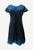 R 309 DR Rib Cotton Light Weight Razor Cut Patched Summer Cap Sleeve Knee Length Dress - Agan Traders, Blue