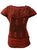R 132 Women's Bohemian Gypsy Razor Cut Cap Sleeve Blouse Top - Agan Traders, Red
