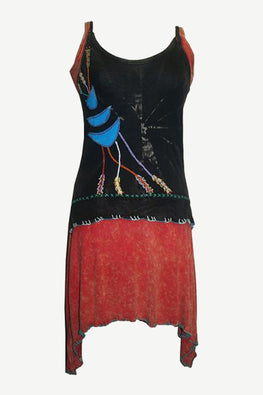 RD 09 Bohemian Light Weight Knit Cotton Summer Spaghetti Strap Sun Dress - Agan Traders, Black Red