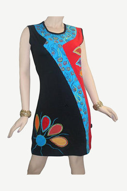 RD 15 Agan Traders Nepal Bohemian Gypsy Knit Cotton Mid Length Summer Dress - Agan Traders, Black Red