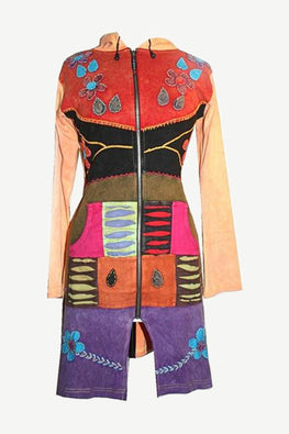R-10 Razor Cut Embroidered Funky Long Cotton Bohemian Jacket - Agan Traders, Multi