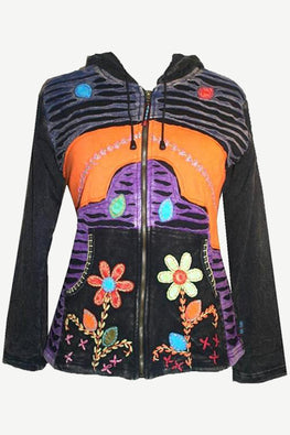 Funky Cotton Multi Patched Bohemian Fleece Hoodie Jacket - Agan Traders, Charcoal
