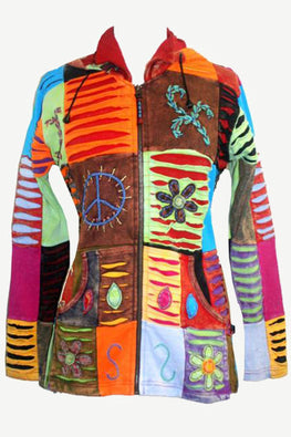 RJ 341 Razor Cut Peace Boho Patch Cotton Multi-colored Hoodie Jacket - Agan Traders, Rainbow