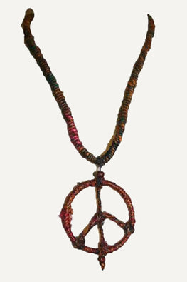 PE-03 Recycle Silk Necklace Peace Pendant Nepal 14.5 inches long - Agan Traders