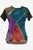 Rib Cotton Razor Cut Patch Short Sleeve Tunic - Agan Traders, Teal Multi